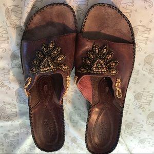 Clarks Wedge Sandals W/Beading